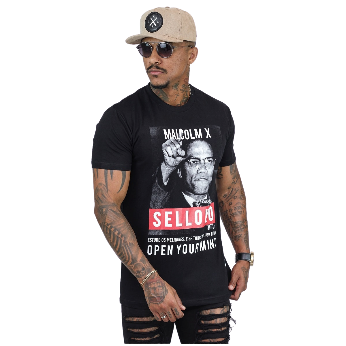 Camiseta Malcolm X Preta